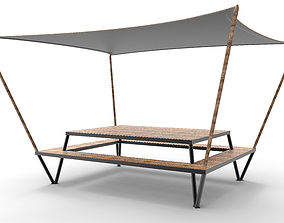 3D asset Picnic Bench with Shed