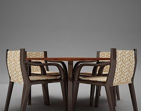 3D model terrace dinning set modern tropic