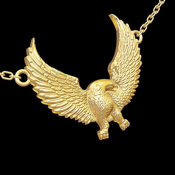 Eagle Sculpture pendant jewelry gold necklace medallion 3D print model