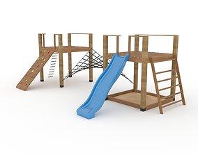 Wooden playground equipment 3D model