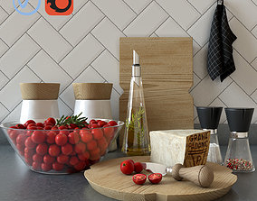 3D Set for kitchen with cherry tomatoes