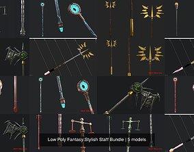 3D Low Poly Fantasy Stylish Staff Bundle