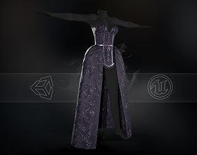 3D asset low-poly Violet Dress