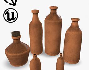 3D asset Clay Bottles