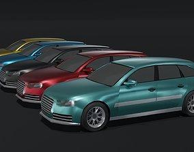 3D asset low-poly Station Wagon Car Generic