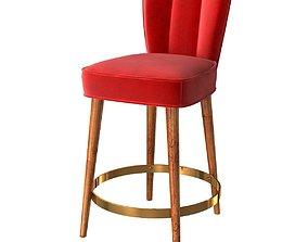 3D Custom made red velvet bar chair