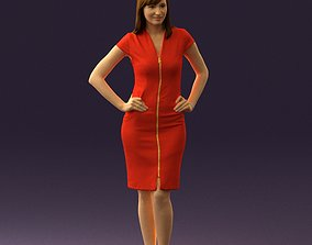 Woman in orange dress 0607 3D printable model