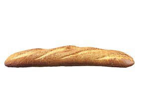 French baguette 3D model baked