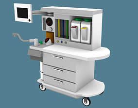 3D model Low-Poly Anesthesia Machine and Cart