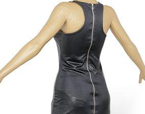 Dress Leather Zipper Sexy Women Clothing 3D asset