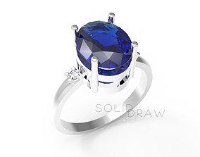 Ring Oval Stone Saphire diamond 3D print model