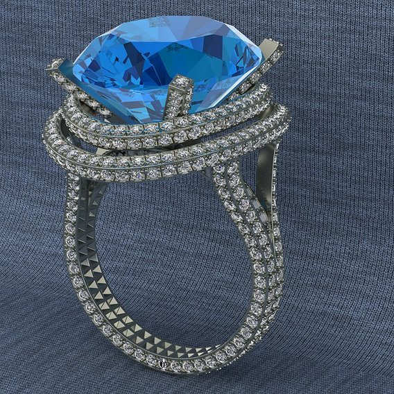 Large ring with topaz