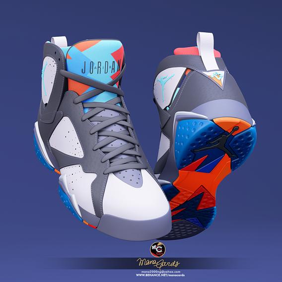 3d viz of Air Jordan-7 sneakers