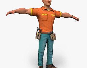 Cartoony Worker Character 3D model