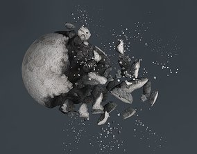 Impact Moon destroyed 3D model