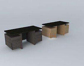 3D desk light oak 26 dark wood