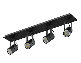 Black Quadruple Lights 3D Model halogen