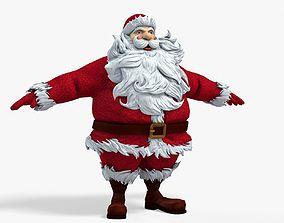 New cool Santa Claus with a big beautiful beard 3D model 3