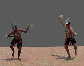 3D Australian Aboriginal Men Dancing animated
