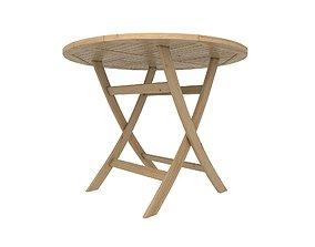 3D asset Folding Round Wood Table
