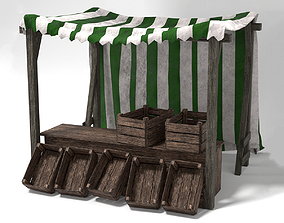 low-poly Medieval Market Stall Tent Green and White 3D 2