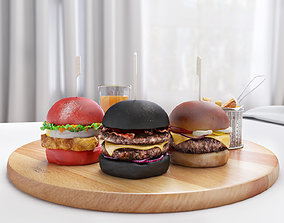 3D Burgers and french fries