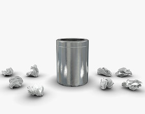 3D model realtime Trash bin and crumpled paper