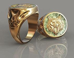 3D print model Ring Signet Wolf