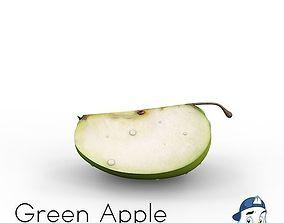 3D Green Apple Quarters