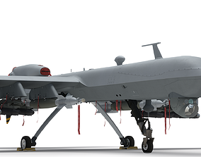 rigged unmanned Generic Military Aircraft Drone 3D model