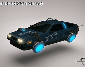 3D Cyberpunk Flying Car DeLorean