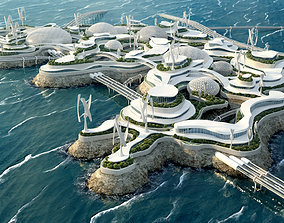 Future City Bionic architecture Eco energy 3D model