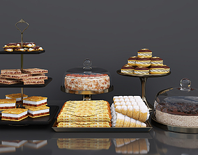 Cake bar Espresso cheesecake and Tiramisu cake 3D model