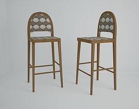 3D asset game-ready wooden stool