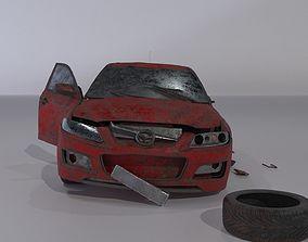 3D model Wrecked destroyed Sedan car