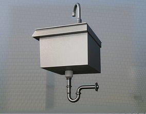 3D asset Public Metal Sink - 3 - Simple