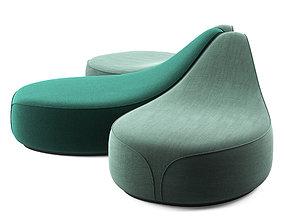 3D model La Cividina Waves dormeuse sofa