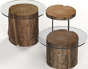 A set of dark glass tables from stumps and slab 3D