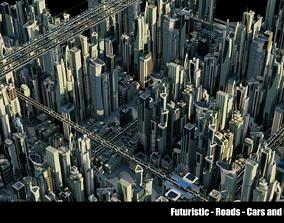 3D model Futuristic-Roads-Cars and City 01