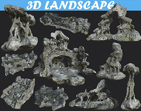 Low poly Cave Mossy Rock Modular Pack cv 3D model