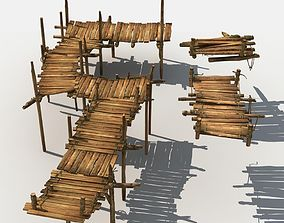 3D model Old Wooden Bridge 01