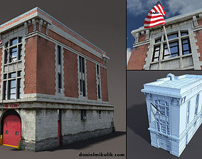 Fire Station Building Low Poly 3D model