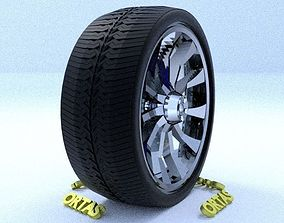 3D ORTAS CAR RIM 9 GAME READY RIM TIRE AND DISC