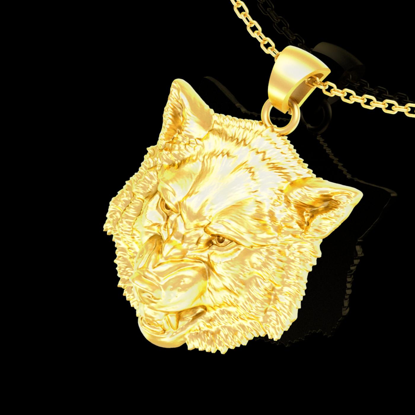 Wolf Head Sculpture Pendant jewelry Gold 3D print model