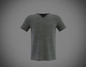 v-neck short sleeve t-shirt 3D model