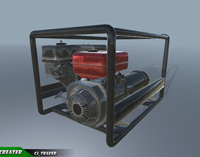 low-poly Low-poly Electric Generator PBR 3D Model