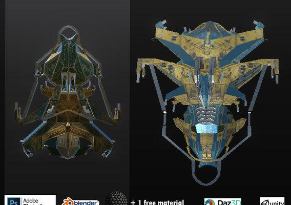 Spaceship ev2 PRO Low-poly editable