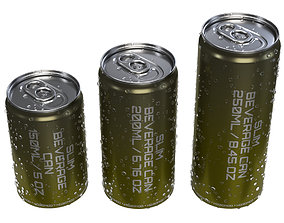 3D model Slim beverage cans 150 200 250 ml with water