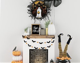 Halloween decor set 3D model low-poly