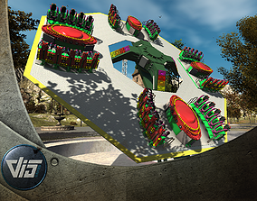 3D asset High Detail Fairground Ride 13 - Takeoff